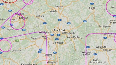 In Hessen wurde unter anderem Wiesbaden von der Flugroute gestreift.