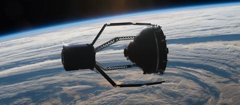 So soll es aussehen, wenn ClearSpace-1 das erste Schrottteil im Weltall aufsammelt.