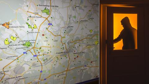 Collage: links: Karte mit möglichen Einbruchszielen, rechts: Einbrecher