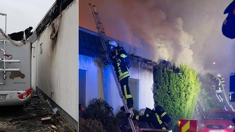 An dem Wohnmobil (links) brach das Feuer aus und griff auf die Reihenhäuser über.