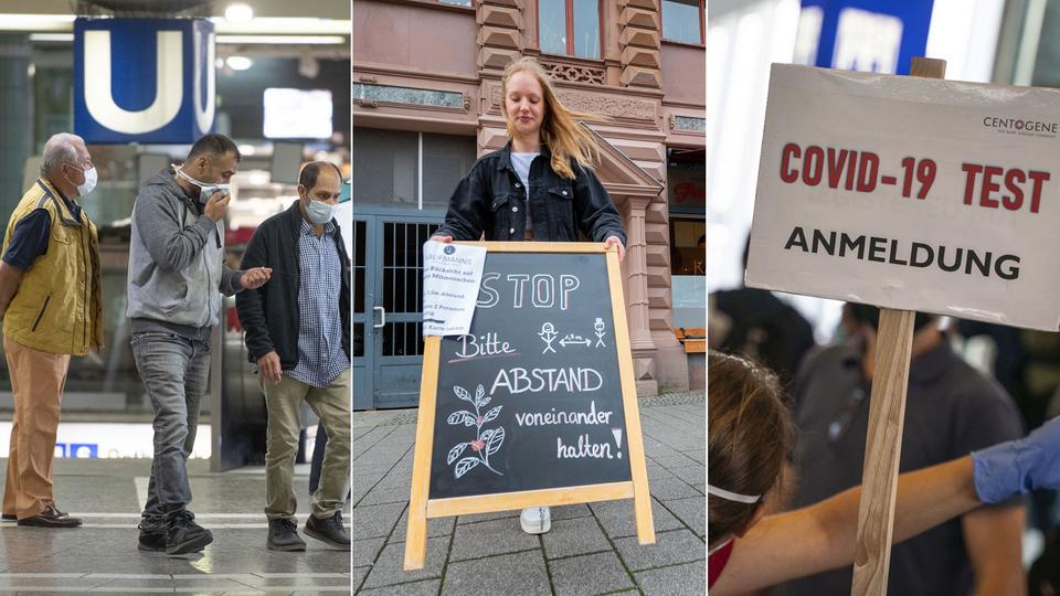 Collage: Gäste in U-Bahn, Schild bitte Abstand halten, Schild Corona-Tests