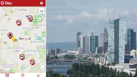 App und Skyline in Frankfurt