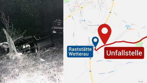 Auto von Adem Bozkurt / Karte mit Unfallort