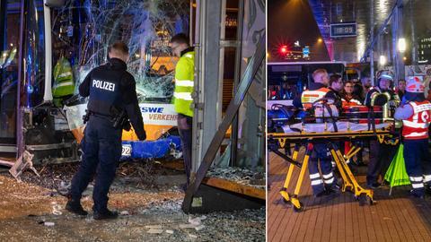 Collage: Busunfall vor dem Hauptbahnhof in Wiesbaden