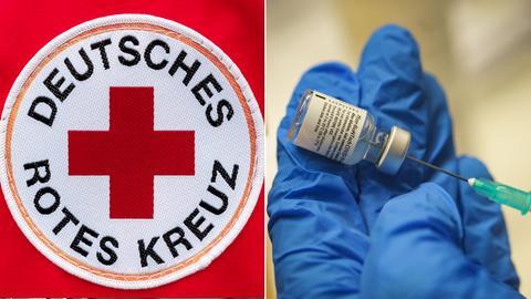 Collage aus aufgenähtem DRK-Logo und einer Hand, die eine Spritze und ein Corona-Impfstofffläschchen hält