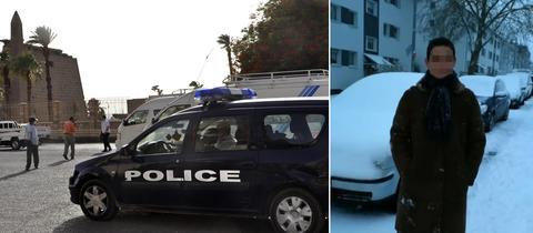 Collage: Polizeieinsatz in Luxor, 18-jähriger Gießener
