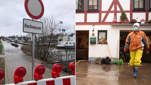 Hochwasser-Vorbereitungen in Wiesbaden (links) und Aufräumarbeiten in Büdingen (rechts)