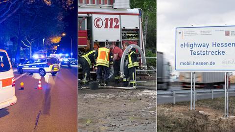 Unfallstelle in Wiesbaden / Feuerwehreinsatz / eHighway