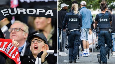 Ein Eintracht-Fan hält seinen Schal hoch (links), zwei Polizisten stehen vor einer Menschenmenge im Herrngarten in Darmstadt (rechts).