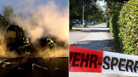 Collage: Lkw-Brand auf A7 (links), Tatort in München (rechts)