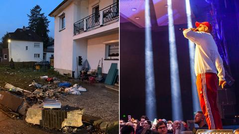 Collage: Unfallort (links), Rapper Sido in der Frankfurter Jahrhunderthalle (rechts)