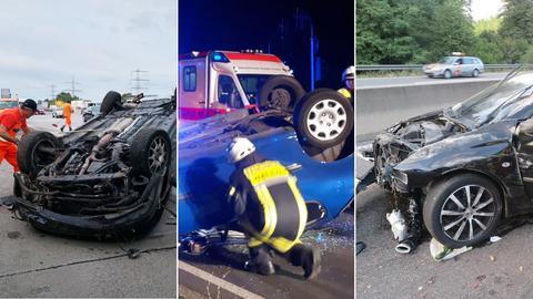 Drei Autos haben sich in Hessen überschlagen.