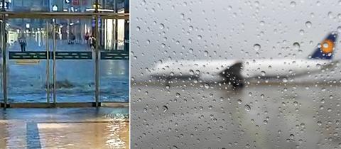 Collage: Hagel in Frankfurt, Flughafen Frankfurt mit Flugzeugen am Boden, Luisencenter Darmstadt unter Wasser