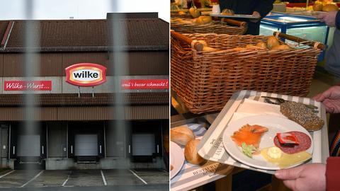 Collage: Blick auf das Firmengelände Wilke (links), Wurst auf einem Tablett (rechts)