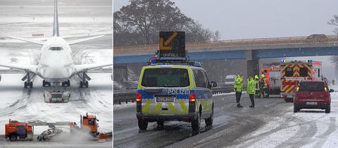 Schnee am Flughafen, Unfall auf Autobahn