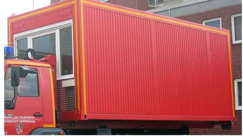 So sieht der Container aus, der der Feuerwehr Heppenheim gestohlen wurde.