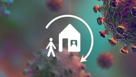 Grafik: Im Hintergrund ein Foto von Coronaviren, mikroskopisch vergrößert. Im Vordergund ein Piktogramm, das Menschen zeigt, wie sie in ein Haus gehen.