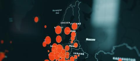 Datenkarte der Covid-19-Infektionszahlen in Europa