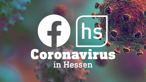 Die Icons von Facebook und hessenschau auf einem Foto eines mikroskopisch vergrößerten Coronavirus.