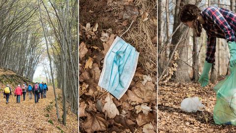 Drei Fotos in Kombination: eine Wandergruppe im Wald, eine verschmutzte OP-Maske auf dem Waldboden, eine junge Frau, die mit Schutzhandschuhen und Müllbeutel ausgestattet Plastikflaschen aus einem Waldbach fischt.