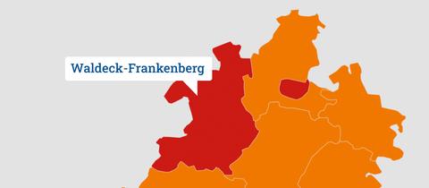 Eine Karte, die Nordhessen zeigt und die Region Waldeck-Frankenberg herausstellt.