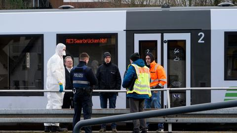 Zug im Bahnhof, Polizisten, Mann in Schutzkleidung
