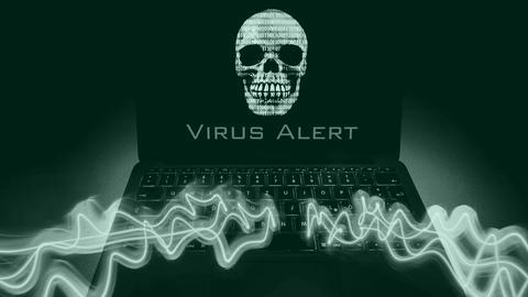 Cyberattacke - Ein Totenkopf auf einem Laptop-Bildschirm