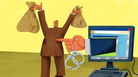 Grafik: Mann mit Geldsäcken wird aus dem Computer heraus mit Handschellen bedroht