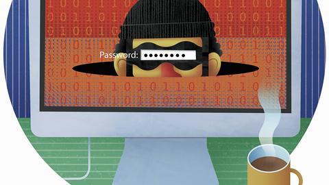 Dieb auf dem Bildschirm hinter dem Passwort-Eingabefeld