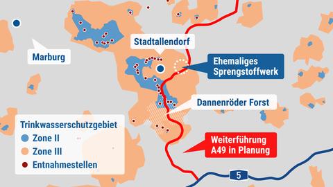 Die Grafik zeigt den Verlauf der geplanten Verlängerung der A49 und die Trinkwasserschutzgebiete, die davon betroffen sind.