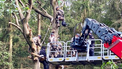 Polizisten ergreifen Baumbesetzer mit Hebebühne