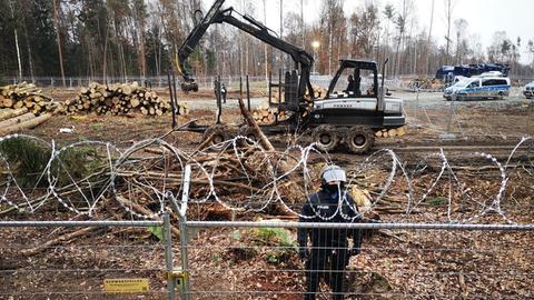 Die Polizei sichert das Gelände im Dannenröder Forst.