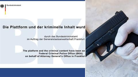 Ein Banner mit der Aufschrift: Die Plattform und der kriminell Inhalt wurden beschlagnahmt, sowie eine Pistole.