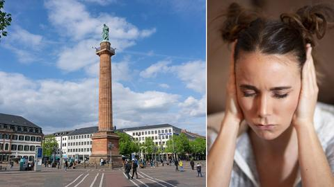 Collage: Luisenplatz in Darmstadt, Frau hält sich Ohren zu