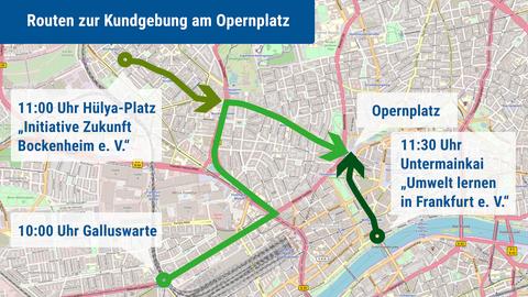 Demo-route Klimastreik Frankfurt