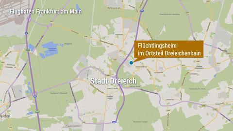 Das beschossene Flüchtlingsheim liegt im Ortsteil Dreieichenhain