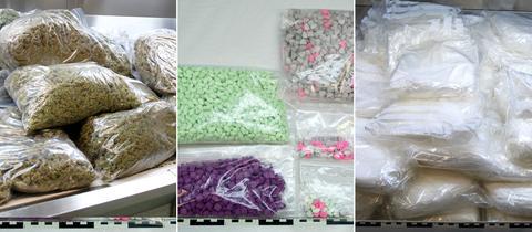 """Säckeweise Drogen: Fotos des BKA zeigen die bei """"Chemical Revolution"""" gefundenen Drogen."""