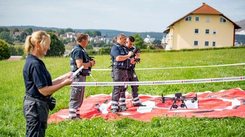 Drohnen-Einsatz-Übung des DRK in Neuhof