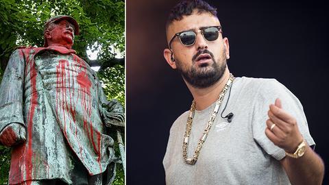 Collage: Bismarck-Statue, Rapper Haftbefehl