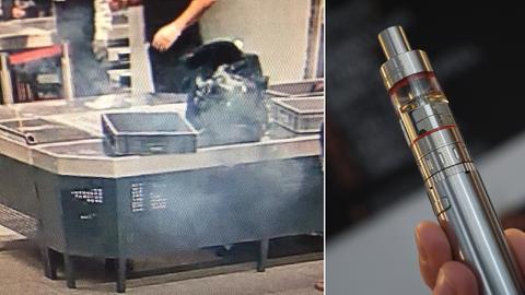 Bei der Sicherheitskontrolle am Frankfurter Flughafen stieg Rauch aus einem Rucksack.