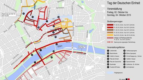 Straßensperrung am Tag der deutschen Einheit