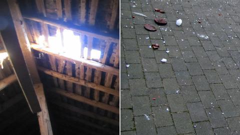 Bildcollage: Links Loch im Dach, rechts Eisbrocken