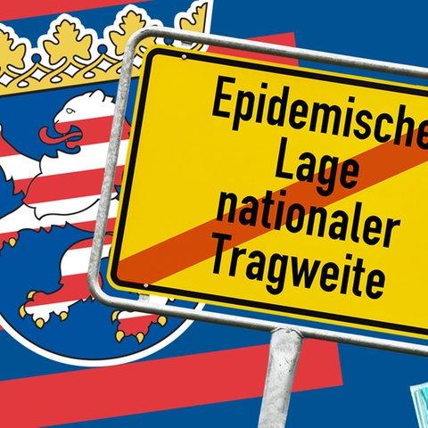 """Hessenwappen neben Schild mit dem Schriftzug """"Epidemische Lage nationaler Tragweite"""" auf blauem Hintergrund."""