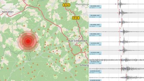 Karte und Seismogramm des Bebens.