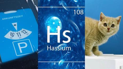 Eine Collage zeigt drei Erfindungen aus Hessen: die Parkscheibe, das chemische Element Hassium und die Pausenkatzen.