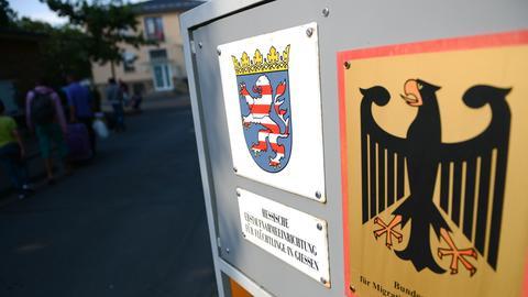 Erstaufnahmestation für Flüchtlinge in Gießen