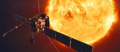 Eine Computerzeichnung zeigt die Raumsonde Solar Orbiter.