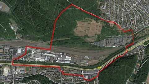 Das rot markierte Gebiet wird am Sonntag für die Entschärfung der Bombe evakuiert.