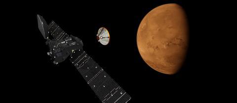 Orbiter und Lander des ExoMars-Projekts in einer graphischen Darstellung