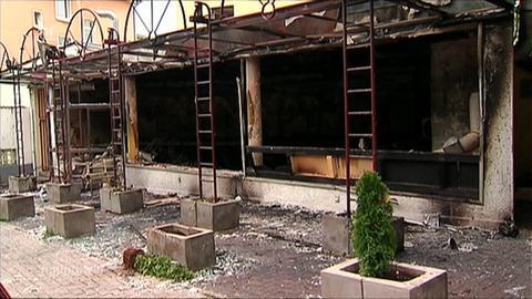 Die ausgebrannte Shisha-Bar in der Licher Straße in Gießen.